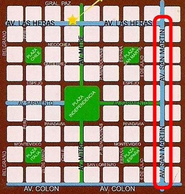 Mapa Praças Mendoza - Av. San Martin-  Argentina