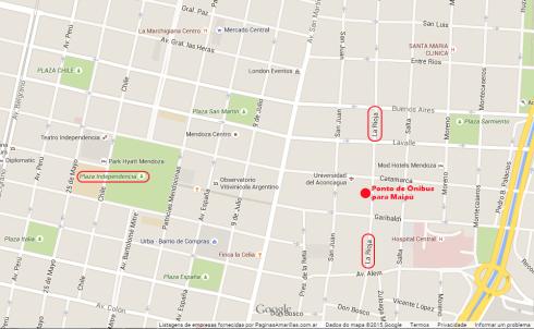 Mapa - Ponto de Ônibus para Maipú - Mendoza