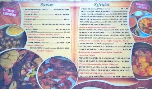 Restaurante Chiozinho - Cardápio - Povoado Cedro - BR101-SERGIPE