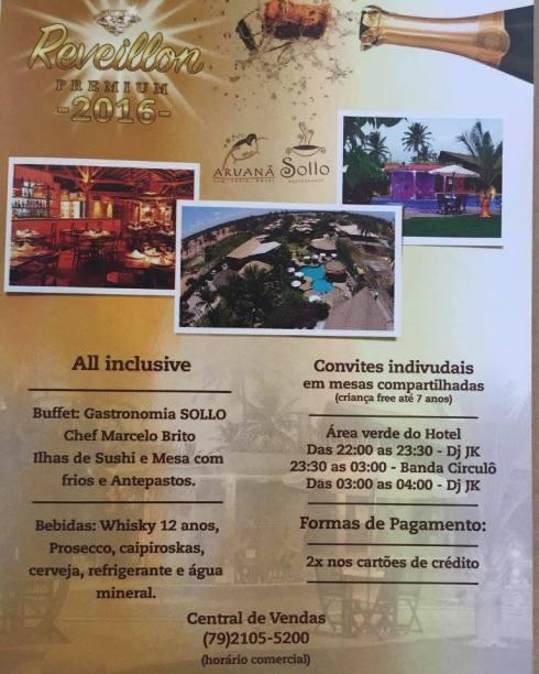 Reveillon Aruanã 2016 - Buffet Sollo Restaurante - ARACAJU