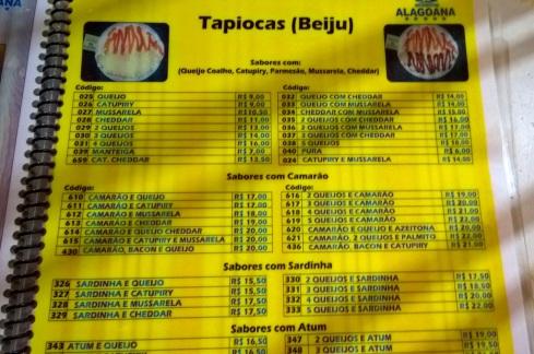Cardápio - Tapioca Alagoana - ARACAJU